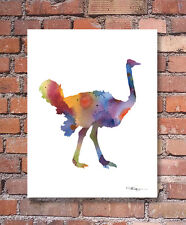 """Ostrich Abstract Watercolor 11"""" x 14"""" Art Print by Artist DJ Rogers"""