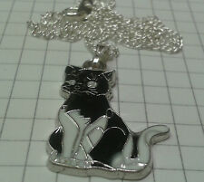 "TIBETAN SILVER+ENAMEL BLACK/WHITE CAT PENDANT ON 18"" SILVER PLATE NECKLACE BOXED"