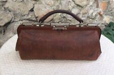 Vintage French Antique Medical Doctors Bag Genuine Leather Purse Case Brown