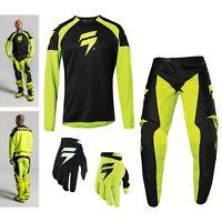 Shift WHIT3 Race Combo schwarz neon MX Enduro Motocross Shirt Hose Handschuhe