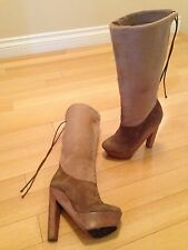 Pierre Hardy Tan Calf Hair And Suede Boots/Wooden Platform Heel Women's Size 36