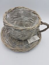 Wicker Cup And Saucer Large Planter Home Garden Design Limewash Shabby Chic