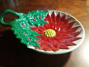 Poinsettia & Leaf Plate Red Green Yellow Christmas X-Mas Ceramic
