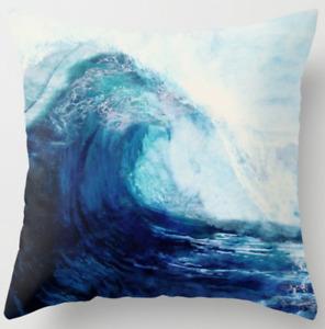 "Cushion COVER Peacock Blue White Home Decor Decorative Throw Pillow Case 18x18"""