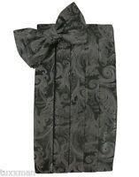 NEW Men's Cardi Charcoal Grey Paisley Tuxedo Cummerbund Bow tie Hankie.TUXXMAN