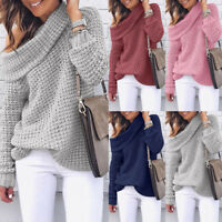Women's One Shoulder Knitted Pullover Long Sleeve Blouse Casual Sweater Jumpers