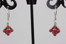 Sterling Silver Red Stone Earrings 925 8925