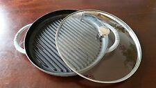 Staub Enameled Cast Iron Steam Grill in Graphite (Gray) with lid