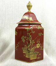 More details for rare bernardaud limoges porcelain large chinese lidded jar chinoiserie red gold