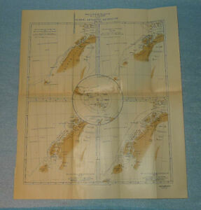 Antique 1911 Map of French Antartic Expedition of 1908-10. Old , South Pole