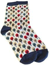 Ladies Socks White Blue Red Green Tree Print Cotton Bamboo Abstract Sketch Trees