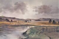 """Watercolour Thomas Alfred Liverton """"Fishing on the Rother, near Wittersham"""""""