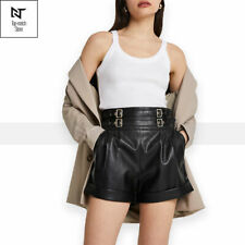 Women Real Leather Basic Shorts High Waist Pockets Elastic Buckle Waist Summer