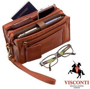 Mens Wrist Bag Travel Organiser Soft Real Leather Black or Brown Visconti New