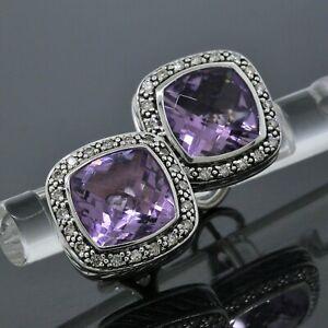 David Yurman Silver Diamond 11mm Amethyst Midnight Melange Albion Earrings