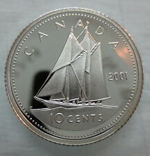 2001 CANADA 10 CENTS PROOF SILVER DIME COIN