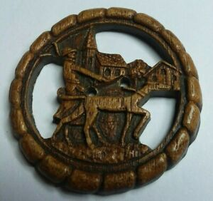 """Vintage Burwood """"Walking the Dog"""" Button, 2"""", Very Good Condition"""