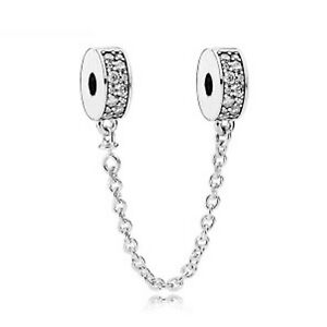 Rhinestones Safety Chain Charm for European Bracelet Silver Plated (147G)