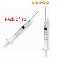 10 Pack -3ml Syringe with 18 ga 1 1/2 Blunt Tip Needle + Clear tip cap TOP SALE
