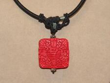Vintage Chinese Faux Cinnabar Pendant & Braded Silk Chord Necklace