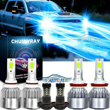 6x 8000K LED Headlight + Fog Light Bulbs For Chevy Silverado 1500 2500 2007-2015