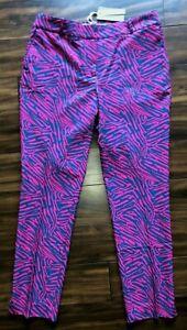 Fairway & Greene Womens Golf Causal Dress Pants Audrey Pink Zebra Size 8 NWT
