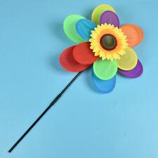 Windspiel Garten Kind Mädchen Spielzeug Windmühle Windrad Sonnenblume Regenbogen