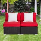 2 Pc Wicker Rattan Furniture Set Armless Sofa Outdoor Garden Couch W/ 2 Pillows