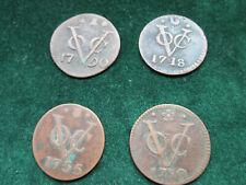4 Antique Dutch East India Company VOC Duit Coins - NY Dordecht Utrecht Zeeland