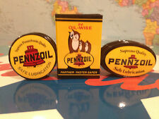 PENNZOIL MOTOR OIL magnets-  set of 3 - OWLS, ROUND AND OVAL LOGOS