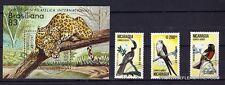 124T2 NICARAGUA 1 bloc et 3 timbres oblitérés:Jaguar et oiseaux