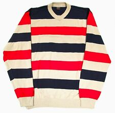 Paul & Shark Red Blue Striped Cotton Knit Sweater Men's Large Made in Italy