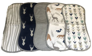 Babebay BURP CLOTHS 5 Pack 100% Combed Cotton Woodland ANIMALS Baby BOYS *NEW*
