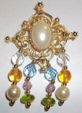 Vintage Gold Tone Filigree Pin With Faux Pearl and Colorful Glass Dangles Mi