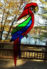 """Vintage Stained Glass Macaw Parrot Sun Catcher Real Glass Large 15"""" Exotic Bird"""