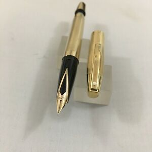 Sheaffer Imperial Touch Down Gold plated FP 14k Fine New USA BOX.