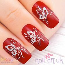White Butterfly Fairy Water Decal Nail Stickers Tattoo Art 01.03.071