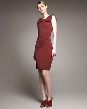 NEW ARMANI COLLEZIONI Bow Shoulder Crepe Jersey DRESS $1125 SIZE 4 BORDEAUX