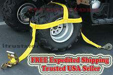 Kawasaki Yamaha Grizzly Polaris RZR Wheel Rim Tire Bonnet Tie Down Ratchet Strap