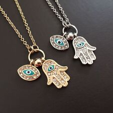 Women's Fashion Jewelry Silver or Gold Plated Evil Eye Hamsa Hand Necklace 64-2
