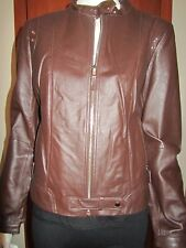 QUEENSPARK MOTOCYCLE ZIP LEATHER JACKET Size 12 chocolate-brown solid new tag
