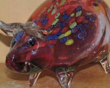 "Art Glass Pig Red/ Cranberry 8.75"" millefiori unmarked Italian Murano"
