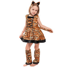 Girls Leopard Brown Costumes Children Animal Teen Fancy Dress Christmas Outfit