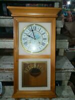 Vtg Waltham Regulator 31 Day (Floral pattern)Chime Wall Clock works solid oak