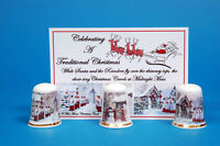 Celebrating A Traditional Christmas Boxed Set 0f 3 China Thimbles + Card B/15