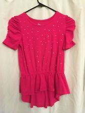 Pink Jeweled Front Tunic w Gathered sleeve & waist 3/4 sleeve Girls Lg 9/10