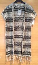 Size Xs 6 8 10 Stripe Tassel Fringe Knit Wear Jumper Cardigan Long Grey Green