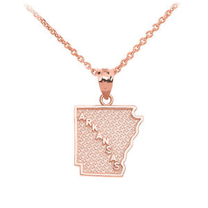 14k Rose Gold Arkansas State Map United States Pendant Necklace