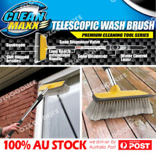 Telescopic water fed car wash brush with soap dispenser van boat vehicle cleaner