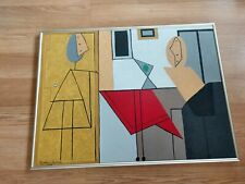 CUBIST Mid-Century OIL PAINTING Estate Signed & FRAMED 1970